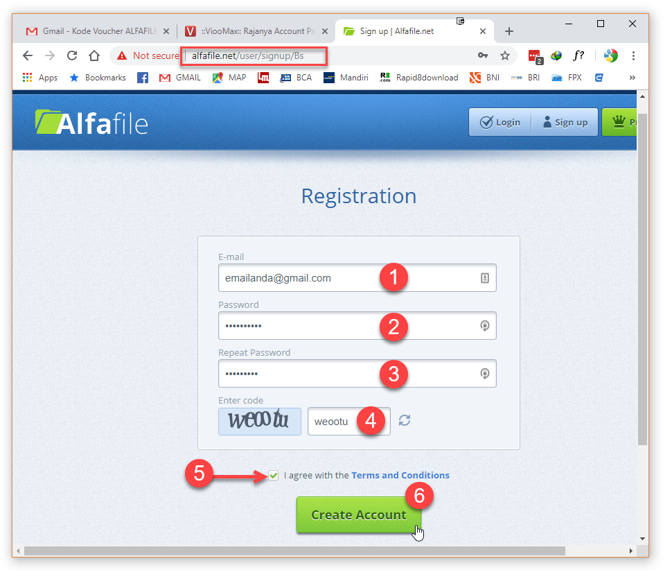 Form registrasi Alfafile