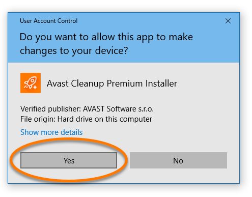 Notifikasi izin User Control Account untuk menginstal Avast Cleanup