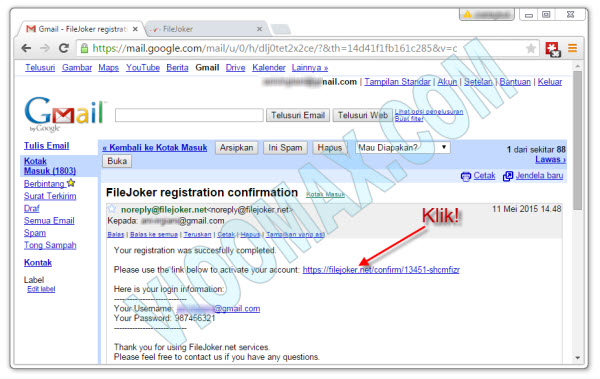 Confirmation Email Filejoker Free
