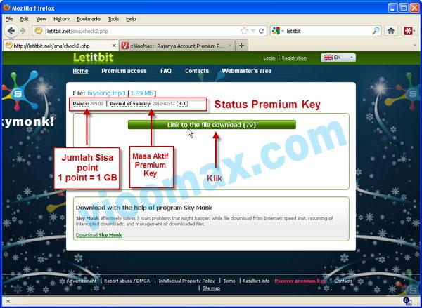 Gambar Informasi Masa Aktif Premium Key Letitbit.