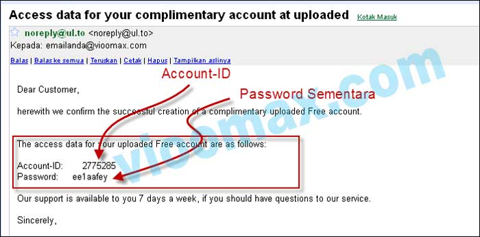Uploaded account ID created and default password